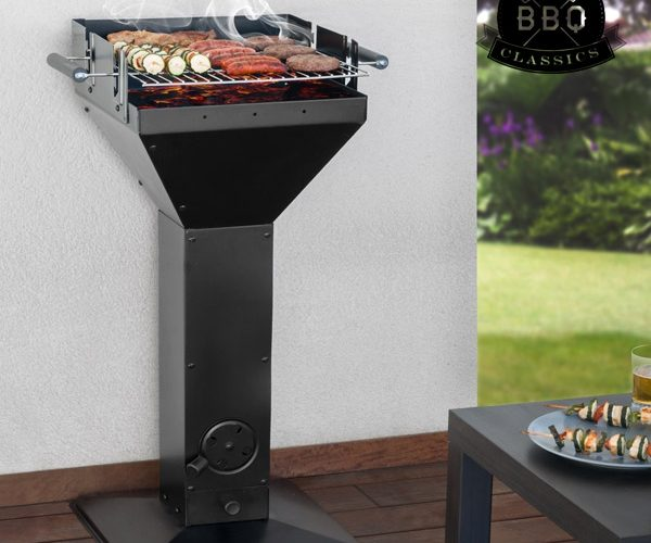 Barbecue noir cylindrique